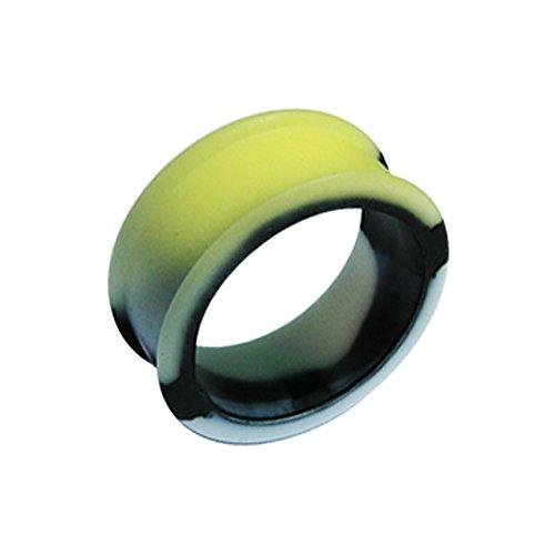 Monster Piercing 6MM veränderbar, Farbe Gelb unter Sonne Licht Marmor Silikon Doppel ausgestellte Ohr-Stecker