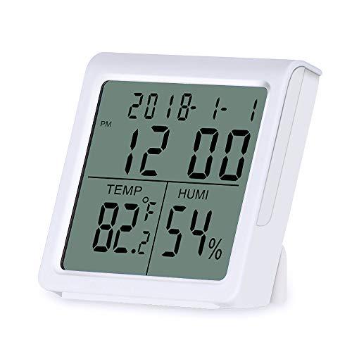 Karrong Digitales Thermometer Hygrometer Innen, Digital Thermo-Hygrometer Temperatur Luftfeuchtigkeit mit MIN/MAX Aufzeichnungen und °C / °F-Schalter uhr für Zuhause, Babyzimmer, Schlafzimmer, Büro