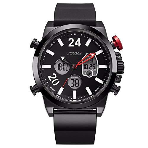 Herrenuhren Tape wasserdichte LCD Multifunktions Quarz Elektronische Sportuhr, Schwarz Rot - Tape Lcd