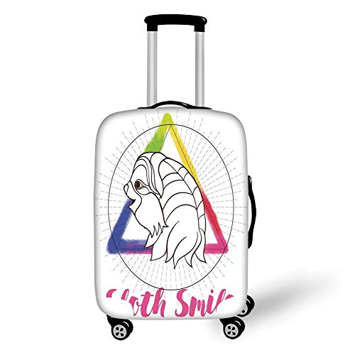 Travel Luggage Cover Suitcase Protector,Sloth,Smiling Sloth on Background with Sacred Geometry Symbol and Rainbow Watercolor Decorative,Pink Blue Green,for Travel XL - Pink Plaid Protector