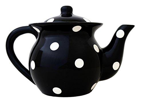 Viva Collection 84217BK Teekanne, 15,2 cm, Schwarz mit Punkten (Tassen Und Dot Polka Weißen Schwarzen)