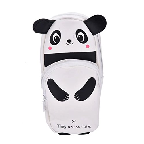 BESTIM INCUK Cute Panda Pencil Pen Case Pouch Bag with Double Zipper for Girls, Kids, School Student Stationery Office Supplies, Black and White