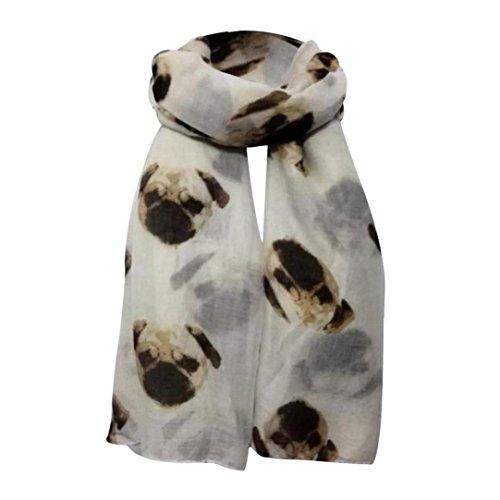 OverDose Schal, Damen Long Cute Mops Hund Print Schal Wraps Schal weiche Schals