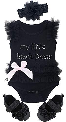 Mombebe Baby Mädchen Prinzessin Body Säugling Sommer Tutu Kleid mit Stirnband und Schuhe (Schwarz 3, 0-3 Monate) -