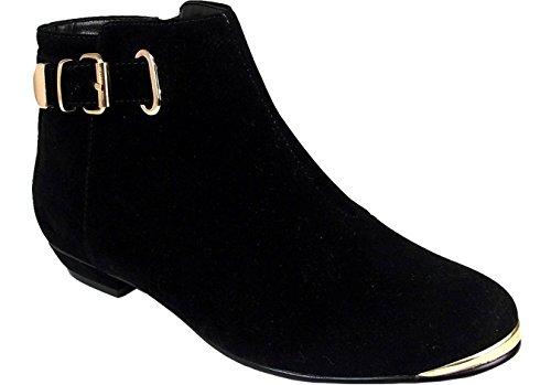 Talon métal Daim boucle femmes Plat Mesdames sangle Bottes noir Chaussures Biker en sur cheville Garniture Noir Tirez EZ4wzwq