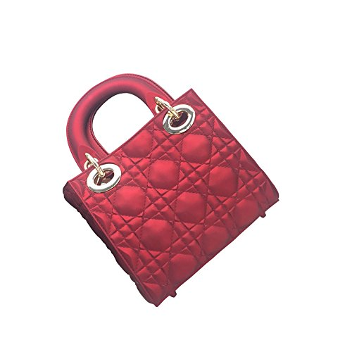 WTUS Damen Neue Lingge Paket Mini Schulter Umhängetasche Handtasche Rot