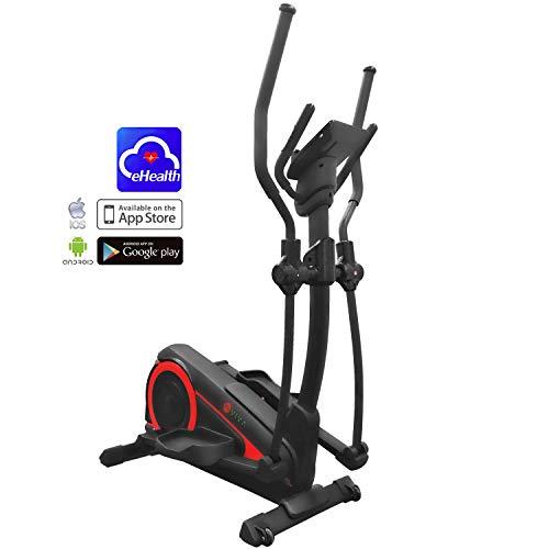 AsVIVA Crosstrainer Ergometer C25 App-Bluetooth Steuerung, integrierter Pulsempfänger sowie Handpulssensoren, 16 computergesteuerte Programme | inkl. Brustgurt (Pulsgurt) | 15 kg Schwungmasse