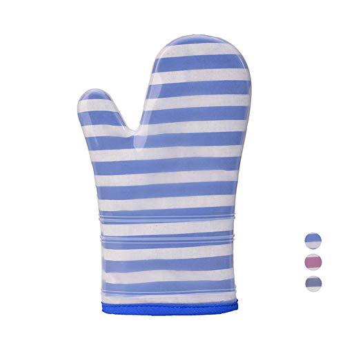 Streifen Silikon Tuch Handschuhe Mikrowelle Rutschfeste Silikon Druckhandschuhe Isolierte Handschuhe Küche Kochen Ofen Backen Werkzeuge,Blue,Single -