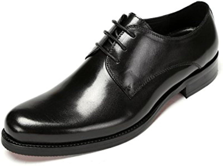 GRRONG Zapatos De Cuero De Los Hombres Traje De Etiqueta De Cuero Genuino De Negocios Negro