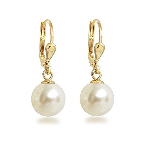 Schöner-SD, Ohrringe hochwertig vergoldet mit 10mm großen runden synth. Perlen cremeweiß