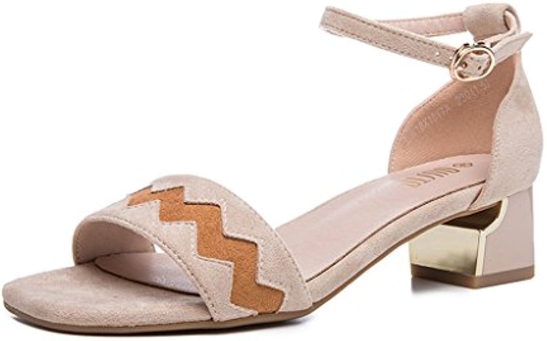 HY Sandalias cuadradas de moda de verano Hebilla abierta del dedo del pie Tacones altos de las señoras (Color...