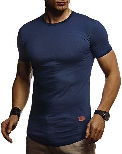 LEIF NELSON Herren Sommer T-Shirt Rundhals Ausschnitt Slim Fit Baumwolle-Anteil | Cooles Basic Männer T-Shirt Crew Neck | Jungen Kurzarmshirt O-Neck Kurzarm Lang | LN8294 Dunkel Blau XX-Large - Basic-100% Baumwolle T-shirt