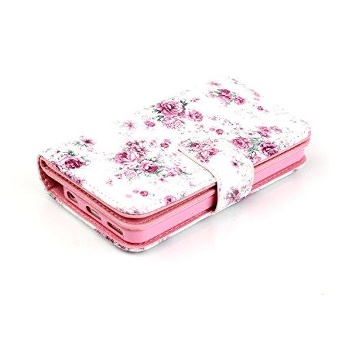 iPhone 5C Coque, Apple iPhone 5C Coque, Lifeturt [ Pivoine ] Leather Case Wallet Flip Protective Cover Protector, Etui de Protection PU Cuir Portefeuille Coque Housse Case Cover Coquille Couverture av E02-Pivoine