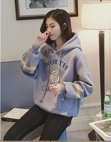 Blue Velvet-mantel (Xuanku Herbst Winter Pullover Damen Locker Eingestellt Von Kopf-Gap Plus Samt Dicken Mantel, S, Royal Blue Plus Velvet Königsblau Plus Samt)