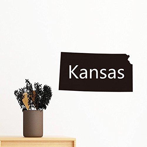 Kansas der Vereinigten Staaten von Amerika USA Karte Silhouette abnehmbarer Wandtattoo Kunst Aufkleber Wandbild DIY Tapete für Raum Aufkleber 60cm - Usa-wand-kunst Der Karte