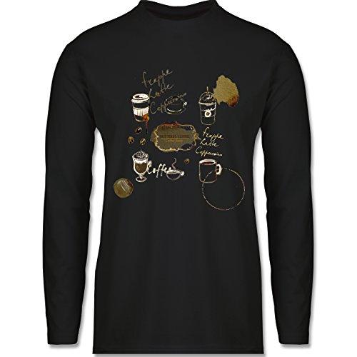 Statement Shirts - But first: Coffee Wasserfarben - Longsleeve / langärmeliges T-Shirt für Herren Schwarz