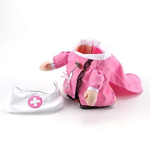 AIUIN Haustier Hund Katze Halloween Kostüm Arzt Krankenschwester Kostüm Hund Jeans Kleidung Katze Lustiges Kleid Outfit Uniform (S,Krankenschwester) -