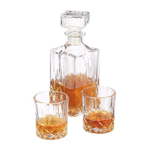Relaxdays set da whisky 3 pezzi, bicchieri e bottiglia decanter, angolo bar, 250 ml