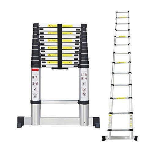 Todeco - Telescopic Ladder, Foldable Ladder - Maximum Load: 330 lbs - Standard/Certification: EN131-3.8 Meters (12.5 feet), Free Carry Bag, Stabilizing bar, EN 131