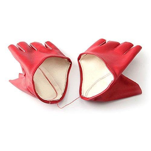 Fahion Damen Lederhandschuhe Half Finger Dancing Damenhandschuh -