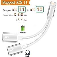 2 in 1 Lightning Adapter Klinke Kopfhörer für iPhone X 8/8 7/7 Plus. Phone Accessories AUX Audio Kopfhörer. Splitter Lightning-Adapter (Audio + Laden + Call) kompatibel für iOS 10.33/11OR später …