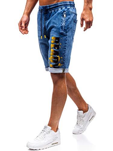 BOLF Hombre Pantalón Corto Vaquero Denim con Impresión Pantalón de Algodón Estilo Urbano Red Fireball...