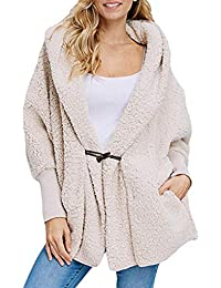 javpoo Women's Fashion Button Pocket Winter Hooded Long Sleeve Plush Coat
