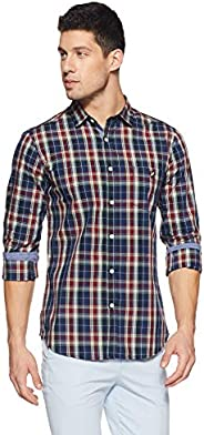 Amazon Brand - House & Shields Men's Checkered Regular fit Casu