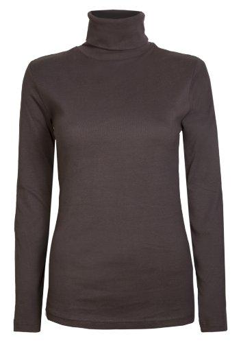 Damen Rollkragen-Pullover, ausschließlich von Brody & coâ ®, Unifarben, für den Winter und Skifahren, Stretch-Qualität, Jersey Baumwolle Gr. Medium, braun (Baumwoll-rollkragen-pullover)