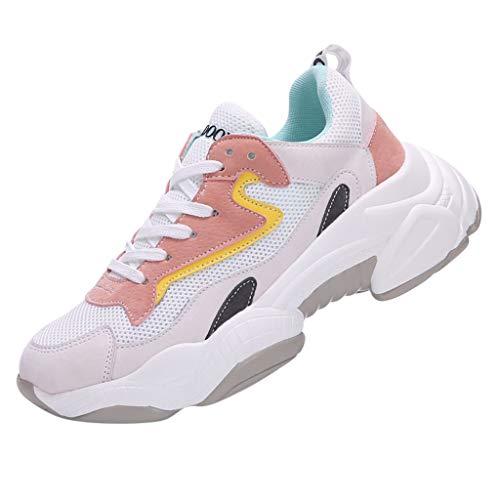 MAWOLY Damen Kontrast Farbe Bandage Mesh Fitness Sport Beiläufig Laufen Draussen Dick Unterseite Schuhe Sneakers - Dc-high-tops Rot Schuhe