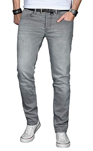 A. Salvarini Designer Herren Jeans Hose Basic Stretch Jeanshose Regular Slim [AS029 - Hellgrau - W33 L34]