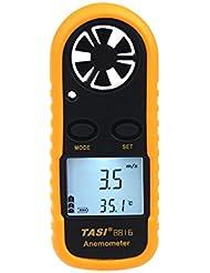 Anemometer, Digital LCD Anzeige tragbar Windmessermit Thermometer für windsurfen fischen wetterstation kitesurfen 10,5 x 1,8 x 4 cm