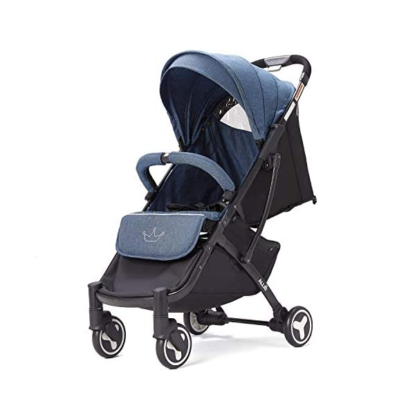 Allis Lightweight Plume Stroller Baby Buggy - Denim Allis Baby Made according to British Standard EN1888 and Fire Safety Regulations 1988. Lockable 360 swivel wheels, removable and suspension, Peek A Boo window/ Recline Seat/ Lie-flat position From 6M (Upto 15Kg Approx). Lightweight 6.7Kg only, Easy to fold with one hand only 2