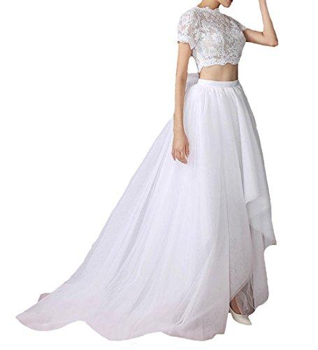 O.D.W Damen Tuell Hohe Niedrige Brautkleider mit Spitze Zweiteiliger Stil Hochzeitskleider(Weisse,...
