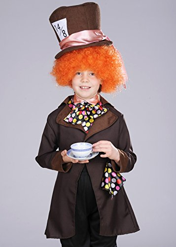 Kinder Brown Wonderland Mad Hatter Kostüm mit Perücke Large 8-10 (Kostüm Kinder Hatter Mad)