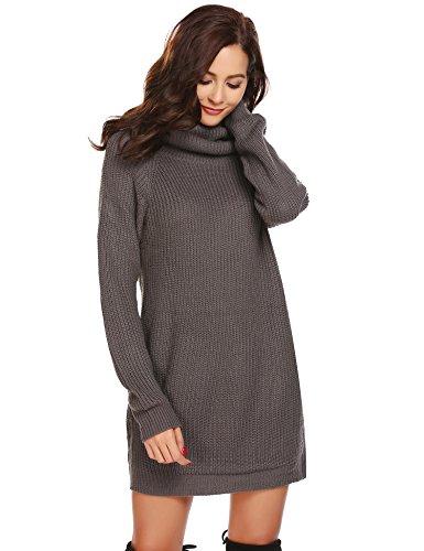 Zeela Damen Herbst Winter Pullover Kleid Lang Rollkragenpullover Strickkleid mit Taschen , Farbe - Dunkelgrau , Gr. L