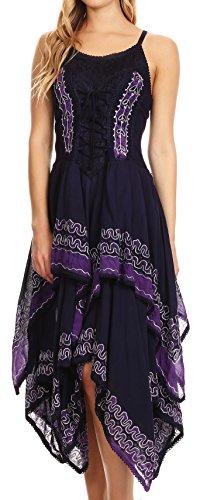 Sakkas Nakoma Batik Taschentuch Saum Kleid Schwarz / Violett