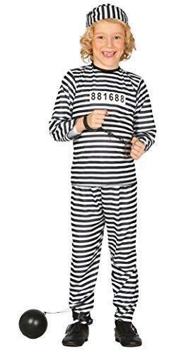 Gefangener Junge Kind Kostüm - Fancy Me Jungen Sträfling Gefangener Polizisten & Räuber Einbrecher Kostüm Kleid Outfit 5-12 Jahre - Schwarz, 7-9 Years
