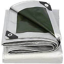 LIYFF-Lona alquitranada Paño Impermeable de Lona Impermeable Protector Solar Paño Protector de toldo Toldo en Poncho Familia Jardín de Acampar,Plata + Verde Militar, Impermeable al Aire Libre