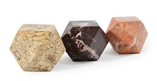 Set von 3 Diamantschliff Himalaya-Marmor Briefbeschwerer - von Fossil GIFT SHOP - Fossil Marmor