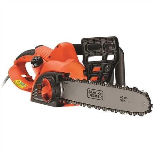 Black+Decker Elektro-Kettensäge (2000 W Motorsäge, 40 cm Schwertlänge, 12,5 m/s Kettengeschwindigkeit, rückschlagarm, Kettenbremse) CS2040