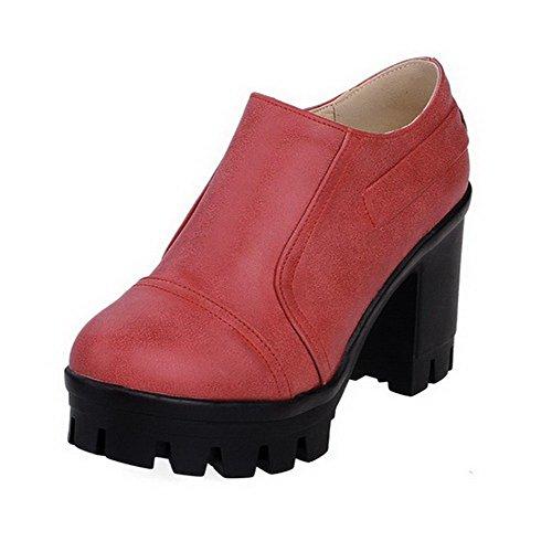 AllhqFashion Femme Couleur Unie Pu Cuir à Talon Haut Rond Zip Chaussures Légeres Rouge