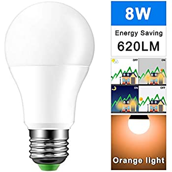 AOZBZ 8W E27 LED bombillas de aluminio 8 luces LED Auto Sensor luz anochecer en el amanecer naranja 2000K 620LM IP44 impermeable uso al aire libre para ...