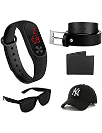 Imperior Stylish Combo of Black Led Watch, Black Belt, Wallet, Sunglass And Cap