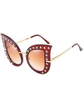 Inlefen Gafas de sol de moda Vintage Cat Eye Sunglasses marco de metal de gran tamaño con bisagras de primavera