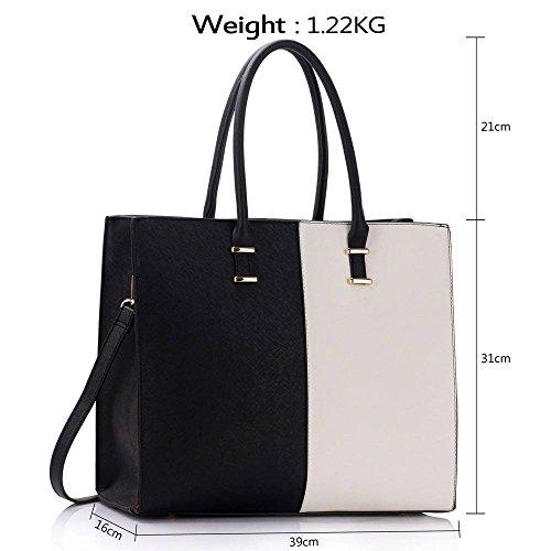 Trend Star woman designer handbag ladies fashion patent tote bag (D - Black / White) B - Black / White