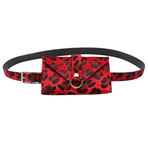 Frauen Taschen Damen Leopard Pferdehaar Dekorative Taschen Mode Gürtel Dual-Use-Handy Günstige Tasche Geldbörse Moonuy (M)