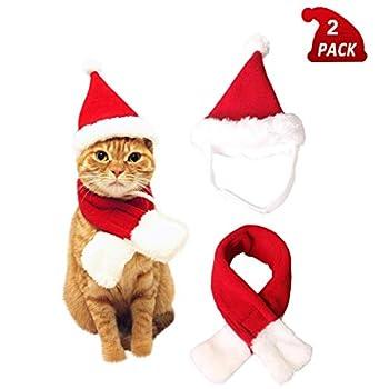 QIMMU Costume Noël pour Chat Chien,Noël Vêtements pour Chien Chat Animaux Bonnet de Noel pour Déguisement pour Chat Chien Noël Animal de Compagnie 2Pièces