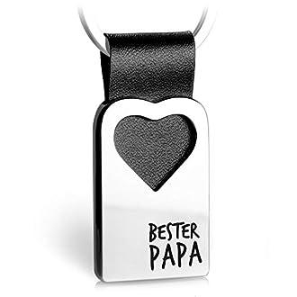FABACH Herz Schlüsselanhänger mit Gravur aus Leder - Papa Geschenk Anhänger für Vatertag und Geburtstag - Bester Papa