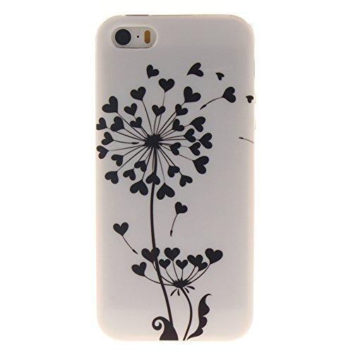 """Apple iphone 5/5s SE 4.0""""hülle,MCHSHOP Ultra Slim Skin Gel Schlank TPU Case Schutzhülle Silikon Silicone Schutzhülle Case Back Cover für Apple iphone 5/5s SE 4.0"""" - 1 Kostenlose Stylus Pen (Lovely Pan Loving Heart Dandelion"""